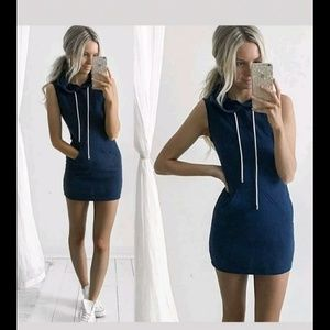 Blue hooded dress